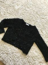 New Look - Fluffy Sequin Knit Bolero Shrug Cardigan - Size 8 Cropped 3/4 Sleeve