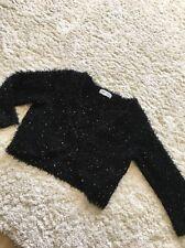 New Look - Fluffy Sequin Knit Bolero Shrug Cardigan - Size 8 Cropped 3/4 Sleeve