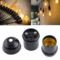 4x Black E27 Minimalist Pendant Socket Period Vintage Light Bulb Holder ES Lamp