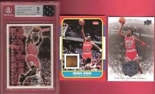 MICHAEL JORDAN FLEER ROOKIE GAME USED FLOOR + BGS MINT 9 DUNK CARD & JERSEY + 1