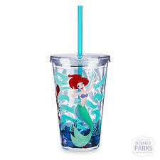 Disney Parks Ariel Voyage of the Little Mermaid Plastic Cup Straw Tumbler Drink