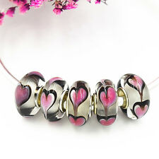 5pcs MURANO Lampwork charm Beads fit 925 silver European Bracelet Chain a335
