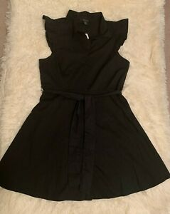 Women's Forever 21 Contemporary Collared Belted Shirt Dress Black Size XL