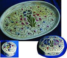 New ListingAntique Papier-mache Vanity Set tray trinket jewelry box enamel Hummingbird Iris