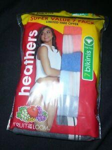 New Womens size 9 2X 7 Pack Fruit of the Loom Bikinis Panties Heathers