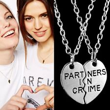 2pcs Partners in Crime Friendship Necklace Best Friend Couples Lovers Jewellery