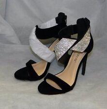 LILIANA NWT Black Peep Toe Rhinestone Accent Ankle Strap High Heel Shoes sz 10