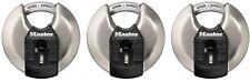 Disc Padlock Master Lock 3 Pack Magnum Shrouded Shackle Key Retaining Round