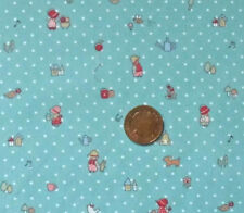 BLUE WITH WHITE DOTS & HOLLY HOBBIE TYPE FIGURES-COTTON FABRIC FQ