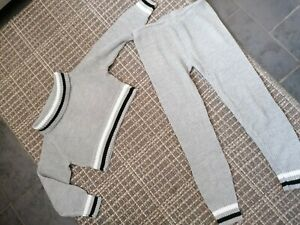 Womens Size 12 Grey Knitted Leggings And Top Set Outfit from boohoo