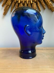 Dark Blue Glass Head Life Size (29cm) Retail Display or Ornament