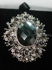 Vintage Victorian style silvertoned pendant brooch pin smokey gray stones
