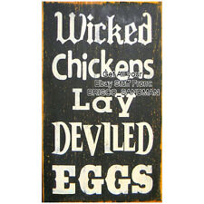 "Fridge Fun Refrigerator Magnet ""WICKED CHICKENS LAY DEVILED EGGS"" Retro Funny"