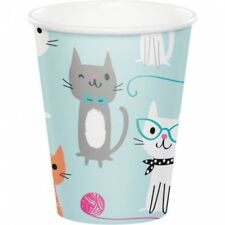 Purr-Fect Kitty Cat Party 9oz Hot/Cold Paper Cups 8 Per Pack Girls Birthday