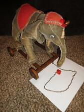 Vintage Steiff Elephant on Wheels w/ Blanket, Head cover & Pull Chain