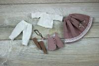 Blythe doll vest skirt dark pink socks stockings Blouse Petticoats white clothes