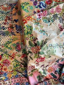 Johnny Was Dreamer Reversible Large Beach Towel Flower Pink Floral Bird Bag NEW