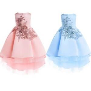 Kids Girls Ball Gown Flower Tutu Tulle Dress Wedding Princess Party Prom Dresses