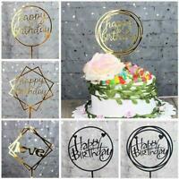 1/5PCS Happy Birthday Cake Topper Cards Acrylic Cupcake Decor Party Love J6X4