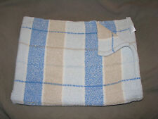 BRIGHT FUTURE BABY BOY BLANKET CHENILLE PLAID BLUE TAN BROWN WHITE CREAM