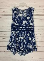 Entro Boutique Womens L Large Blue White Floral Lace Sleeveless Spring Tunic Top