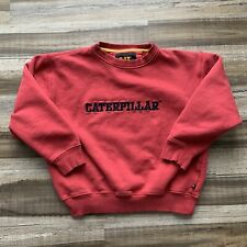 VTG CAT Caterpillar Brand EMBROIDERED Sweatshirt Crewneck Sweatshirt L Red RARE