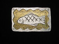 """JJ"" Jonette Jewelry Silver Gold Pewter 'Drawing of Trout' Fish Pin"