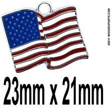 10 pcs  23mm x 21mm USA wavy flag jewelry charm / pendant dangle