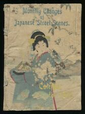Japanese Calendar for 1902 Street Scenes Hasegawa Printed on Crepe Paper