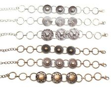 Bracelets Set Antiqued Copper Silver Steampunk Style Adjustable Lot of 6