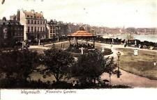 DC27. Antique Postcard.  Alexandra Gardens and Bandstand. Weymouth, Dorset