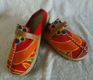 Unbranded Womens Jute And Canvas Multi Colored Slip On Shoes Size 7 US 38 Euro