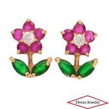 Estate Ruby Emerald Topaz 14K Yellow Gold Small Flower Stud Earrings NR
