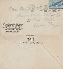 US 1945 AALS FIRST FLIGHT BOSTON MASS TO LONDON ENGLAND FLOWN COVER
