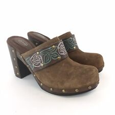 Scholl UK6 Brown Leather Suede Slip On Clogs Mules Floral Wood Heels Sandal Shoe
