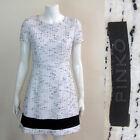 PINKO White Dress with Black Detail and Hem Size 10