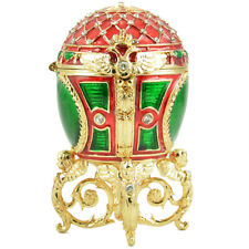 """Faberge Russian Style Egg Jewelry Box w/Mesh Pattern, Crystals & Angels 3.5""""/9cm"""