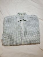 Peter Millar Sport Blue Green Check Plaid Mens Dress Button Shirt Large L golf