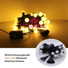 5M 50 Led String Lights Ball warm white Waterproof Globe Fairy Christmas 220V II