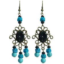 Boucles D'oreilles pendante ethnique chandelier long bleu turquoise noir strass