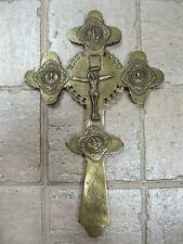 Antique Brass CRUSIFIX CROSS Orthodox Church Parson Russian Empire 260 mm 10.23""