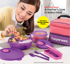 New Tupperware lunch box bento pouch bag double decker cutlery soup mugs set