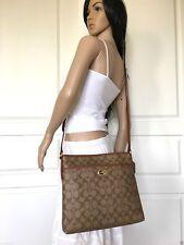 NWT COACH KHAKI BROWN SIGNATURE PVC LEATHER CROSSBODY SHOULDER LARGE BAG