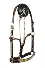 Western Dark Oil With Silver Plates Full Leather Halter With Lead Chain
