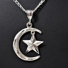 "2"" Tall Genuine 925 Sterling Silver Crescent Moon & Star Islam Muslim Pendant"