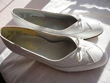 60s Vintage Firmado Portman Blanco Talla 5 Tacón Cómodo Tribunal Zapatos Para Caminar