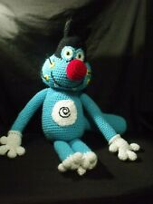 "VTG Cartoon Oggy oggie and the Cockroaches RARE Custom Made Plush 17"" crocheted"