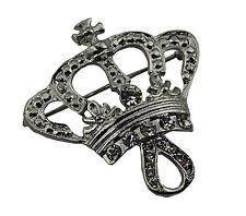 Silver Crown Bridal Brooch Rhinestone Crystal Diamante Wedding Broach Pin