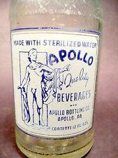 vintage ACL Soda Pop Bottle:   APOLLO BEVERAGES OF APOLLO, PA - 12 oz ACL