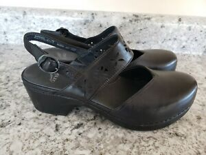 Dansko Trista Black Leather Mule Clog Slingback Perforated Size 39 US 8.5-9